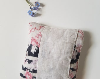 Untouched Vintage Patchwork Lavender Pillow - Black, Pink And White