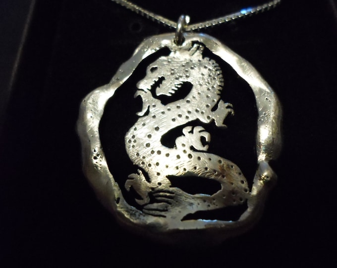 """Large 35mm-32mm melted Dragon necklace w/20"""" sterling silver chain"""