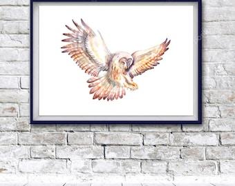 Watercolor Art, owl print, Digital Print, Instant Download Printable Art, watercolor owl painting, bird paintings, owl, owl art, owl poster