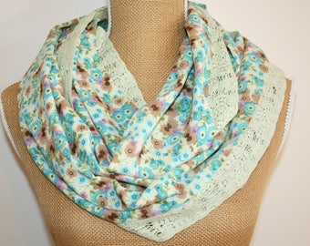 Handmade Watercolor Floral Print Lace Scarf, Infinity Scarf, Circle Scarf, Loop Scarf.