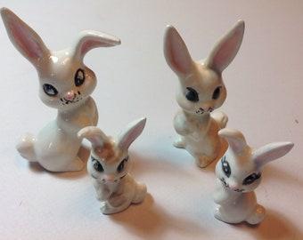 Ceramic rabbit family