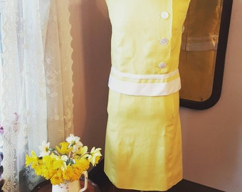 1950's 50's 1960's 60's First Lady Yellow Wiggle Vintage Dress Size Small To Medium 1950s 1960s 50s 60s