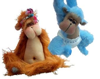 Jaffa soft toy orangutan monkey sewing pattern - loveable and cute !