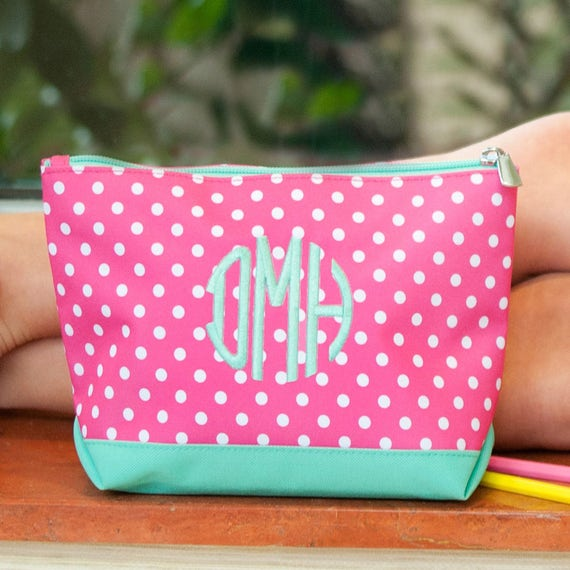 Pink Polka Dottie Cosmetic Bag with Mint Green Trim