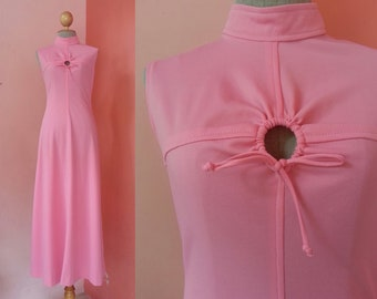 Pink Maxi Dress 70s Vintage Clothing Womens Dresses Prom Dress Party Dress 1970s Dress Hippie Dress Boho Dress Sleeveless Dress Small S