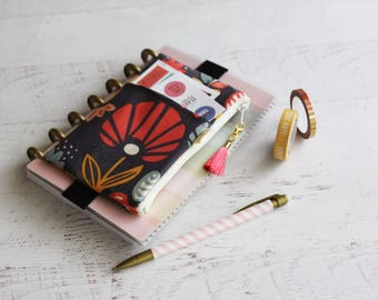 Modern floral planner acccessories - chunky happy planner bag - small planner pouch - silk tassel charm -