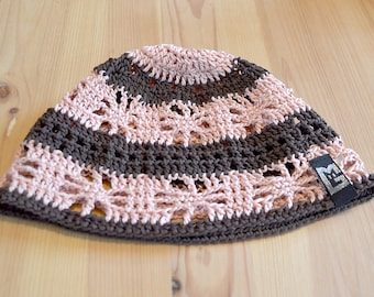 Crochet Beanie Hat Brown apricot size S