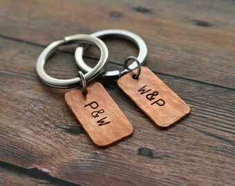 Couples Keychain Set Personalized Couples Gift boyfriend girlfriend Keychains Wedding Present Love Key ring engagement gift Copper Key chain