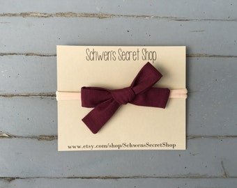 Hand tied bow, baby girl headband, maroon fabric bow headband, baby headband, nylon headband, baby girl bow, baby bow headband, infant bow