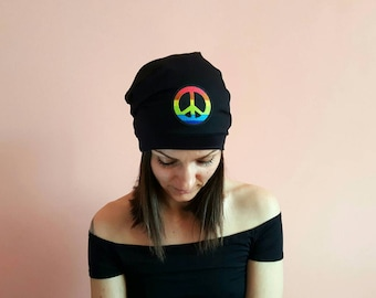 PEACE SLOUCHY BEANIE Hat Festival outfits 2018 Black Slouchy Beanie Hat Peace Cap Slouchy Beanie Hats Black Slouch Hat Goth Beanie