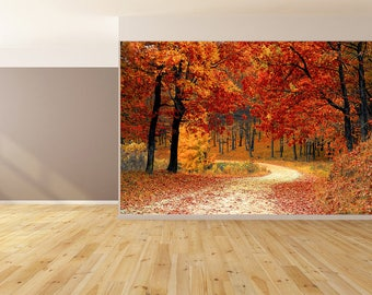 Fall Leaves Landscape Wallpaper Peel and Stick