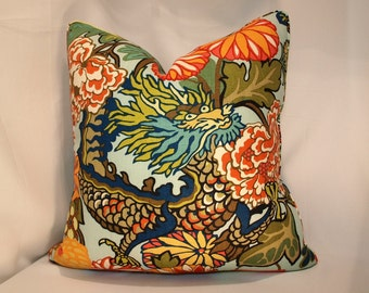 One or Both Sides - ONE High End Schumacher Chiang Mai Dragon Aquamarine/Indoor-Outdoor Pillow Cover with Self Cording