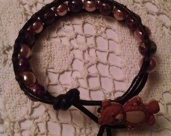 Leather Wrap Bracelet or Anklet with Adorable Teddy Bear Button Closure Pink Glass Pearls and Brown Glass Beads Teen Summer Friend Gift