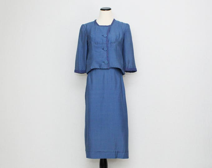 Vintage 1950s Cornflower Blue Silk Skirt Suit - Size Medium