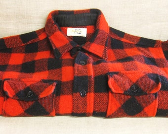 Vintage Wool Black and Red Buffalo Plaid Jacket, Mens Fall Coat, Shirt Style,  Rural Look, Hipster, Winter Fall Outerwear, Lumberjack
