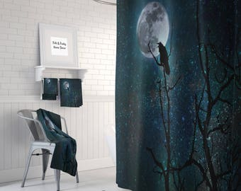 Gothic Shower Curtain Raven  Crow, Night Sky  ,Bath Mat , Bath Towels