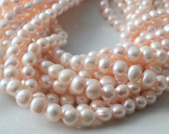 Blush Pink Pearls, Nugget Pearls, Large Pearls Freshwater Pearl 8mm Pale Pink Natural Pearls, Real Pearls, Baroque Pearls Full Strand NP423