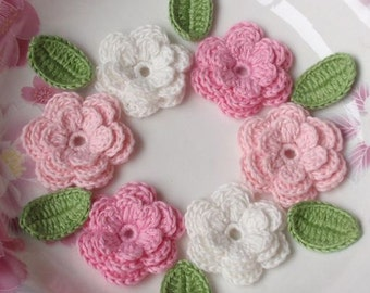 6 Crochet Flowers With Leaves In White,Lt Pink, Pink,  YH-014-02