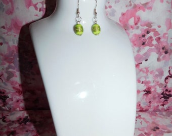 Lime pattern bead earrings/bead earrings/lime earrings/pattern bead/aztec earrings/boho earrings/handmade/handmade earrings/gift/jewellery