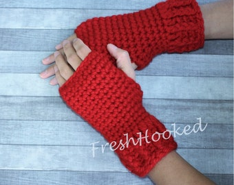 Warm Wool Fingerless Gloves Wrist Warmers Red Ribbed Texting Keyboarding
