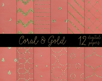 Gold and coral papers, gold & pink digital papers, gold pink pattern papers, gold glitter backgrounds, pink pattern papers DIGITAL DOWNLOAD