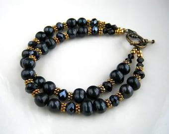 Two Strand Black Freshwater Pearl Bracelet Black Crystal and Pearl Bracelet