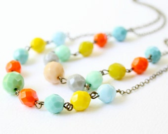 Multi Strand Colorful Beaded Necklace, beaded necklace, chunky bead necklace, gift for her