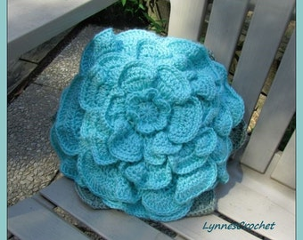 Pretty Aqua Crocheted Flower Pillow ..