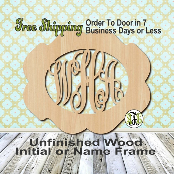 Unfinished Wood Emily Frame Monogram, Name, Word, Custom, laser cut wood, wooden cut out, Wedding, Personalized, DIY