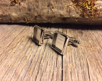 French Cufflink Blanks, silver, one pair, Bezel/ Tray set, square, 14/16 mm