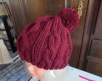 Hat with Pompom and Garnet twisted