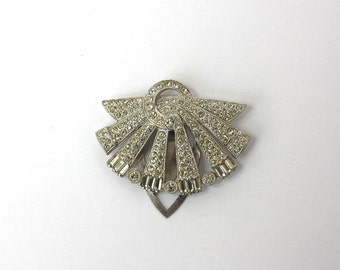 Vintage 30s Art Deco Dress Clip Sparking Rhinestone Silver Metal Dress Clip