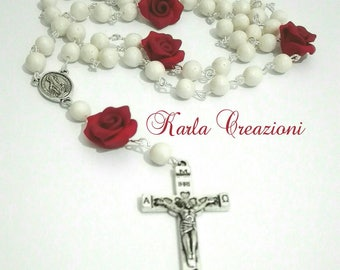 Pearly Rosary with red roses