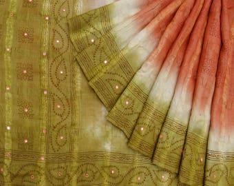 Vintage Indian Orange Bandhani Printed Craft Saree 100% Khadi Silk Used Fabric VPSK1376