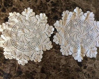 Matched Pair of 9 Inch Vintage Doilies