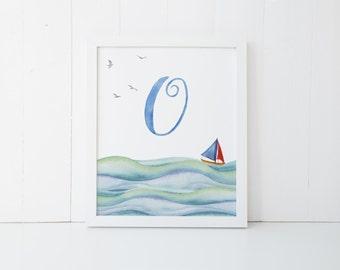 Printable Monogram Watercolor  - O -  Letter Print Digital - Nautical Sea Boat Baby Decor Boys Girl Nursery Wall Blue Art Poster 16x20 11x14
