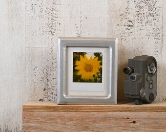 Picture Frame for Instant Camera Print in Double Cove Style with Solid Silver Finish 4.75x5.5 inch Frame - IN STOCK - Same Day Shipping