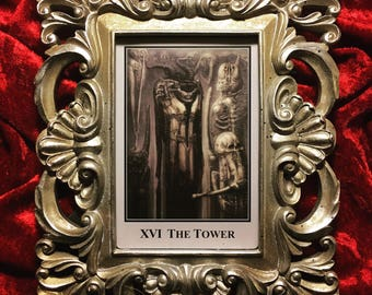 """Rare HR Giger """"Tower"""" tarot card in or ate frame"""