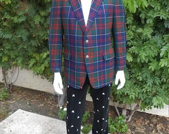Vintage 1981 Maxime Shoppe Tartan Plaid Blazer - Size 42