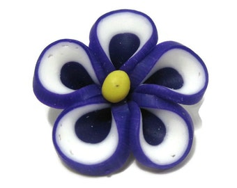 Purple Polymer Clay Flowers 20mm Beads Set of 4 (H05)