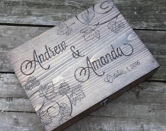 Three bottle hinged top lid wine box, Fall wedding wine box, large memory box, love letter box, wooden wine box, anniversary wine box
