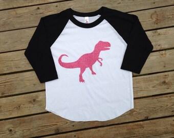 T-rex shirt, baseball T rex shirt, T-rex girl shirt, girl dinosaur shirt, T rex, Dinosaur shirt, girl dinosaur shirt, triceratops