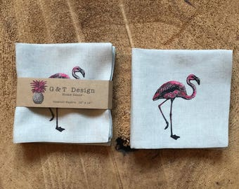 Pink Flamingo Screen Printed onto 100% Natural Linen Cocktail Napkins ,Set of 4, Party Napkins ,Hostess Gift