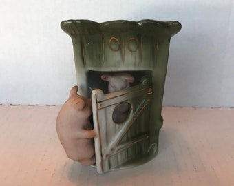 German Fairing Pigs in Outhouse porcelain figurine