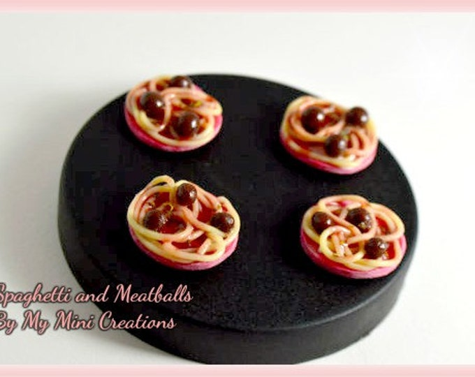 Spaghetti and Meatballs Plate Sets, Pink Plates, Miniature Food, Miniature Food Jewelry, Food Jewelry