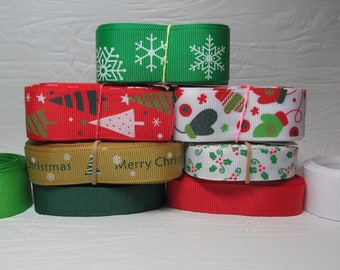 Grosgrain ribbon bundle Christmas 13 yards of Snowflakes, Christmas Trees, Mittens, and Holly, Green, Red, White Solid Grosgrain Ribbon, Kit