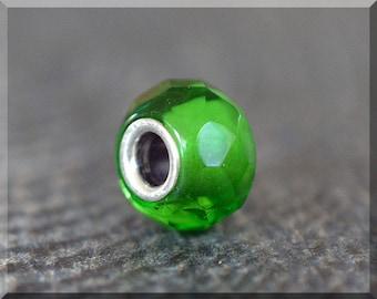 Fern Green Prism Bead Charm, European Bead Charm, Sterling Silver Small Core Big Hole Bead, BHB Slide Charm, Czech Glass Large Hole Bead