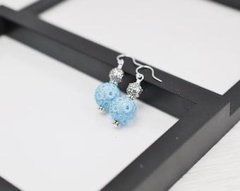 Blue Flower Earrings, Light Blue Earrings, Lucite Earrings, Blue Earrings, Blue Drop Earrings, Sky Blue, Powder Blue, Flower Earrings