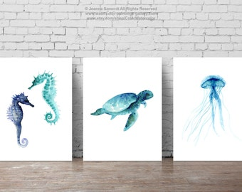 Oceanic life, Sea creatures Set of 3, Seaturtle, Jellyfish, Seahorses Home Decor, Sealife Giclee Art Print Set