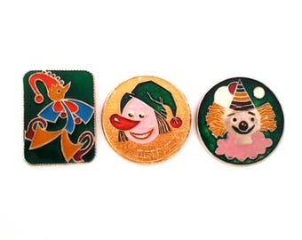 Vintage soviet children's pin badges, animal, fairytale, fairy tale characters, cartoon character, made in USSR, 1970s